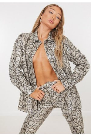 Missguided Co Ord Snake Print Faux Leather Oversized Shirt