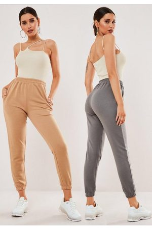 Missguided Petite Camel And Charcoal Two Pack Jogger Set
