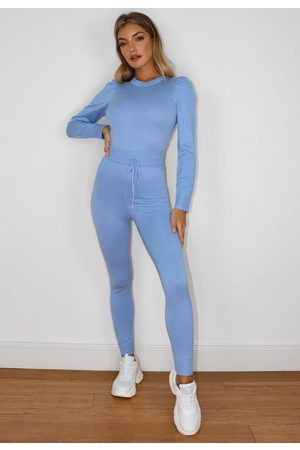 Missguided Puff Sleeve Top And Knit Leggings Co Ord Set