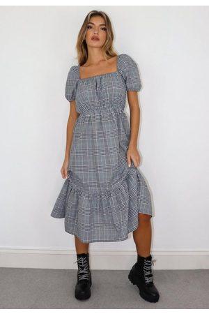 Missguided Petite Black Plaid Smock Dress