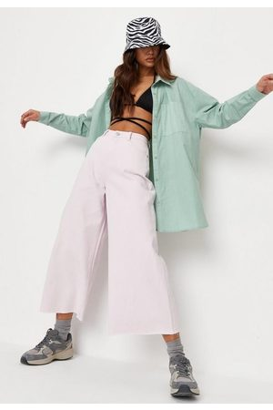 Missguided Cropped Raw Hem Wide Leg Jeans