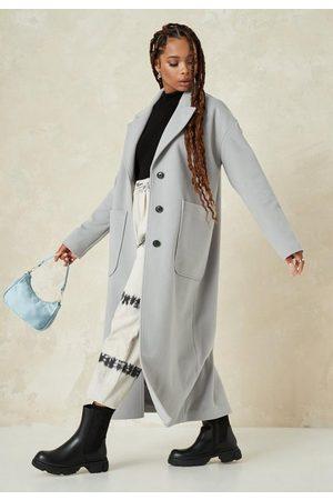 Missguided Women Coats - Petite Gray Oversized Long Coat