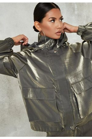 Missguided Charcoal Co Ord Shimmer Balloon Sleeve Windbreaker Jacket
