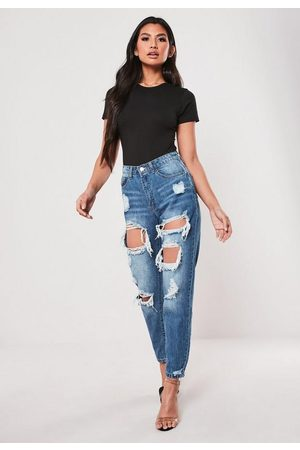 Missguided Petite High Rise Ripped Jeans