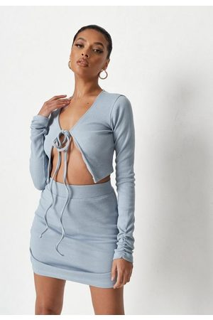 Missguided Light Rib Tie Front Crop Top And Mini Skirt Co Ord Set
