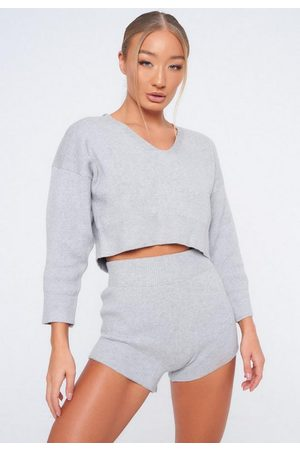 Missguided Gray Co Ord Tie Back Cropped Sweater