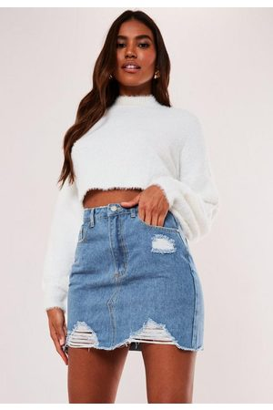 Missguided Denim Ripped A Line Mini Skirt