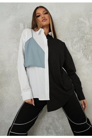 Missguided White Contrast Bralet Overlay Shirt