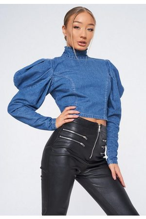 Missguided High Neck Puff Sleeve Denim Top