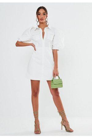 Missguided Poplin Puff Sleeve Utility Shirt Dress