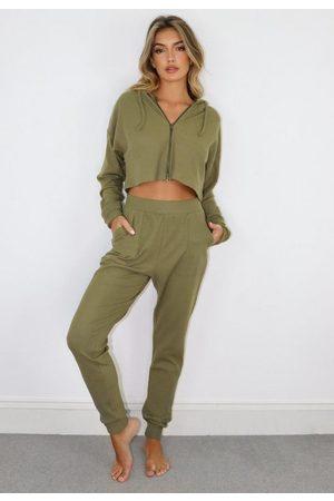 Missguided Olive Rib Zip Up Loungewear Set