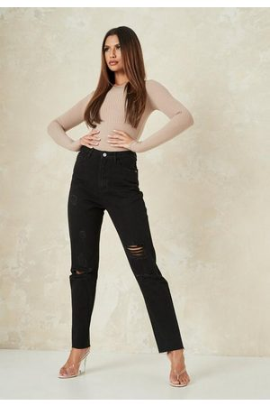 Missguided Petite Straight Leg Distressed Jeans
