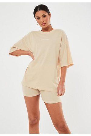 Missguided Petite Sand Oversized Drop Shoulder Graphic T Shirt