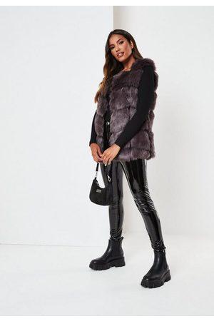 Missguided Women Tank Tops - Charcoal Faux Fur Bubble Vest