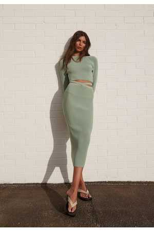 Missguided Re_Styld Rib Knit Midi Skirt