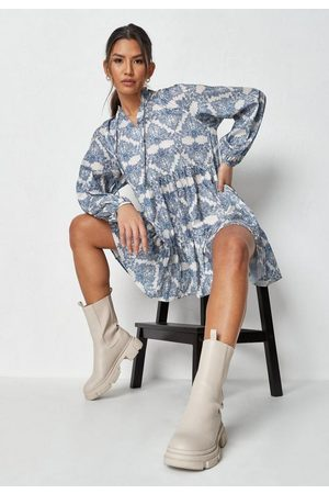 Missguided Tile Print Tiered Smock Dress