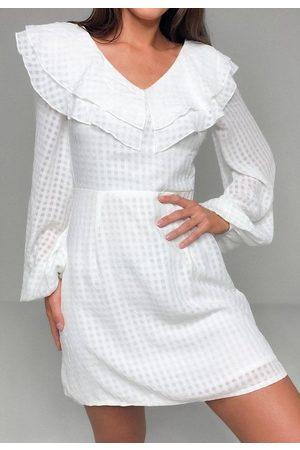 Missguided Plaid Textured Frill Bust Skater Dress