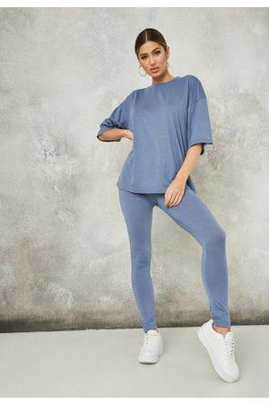 Missguided Women Leggings - Oversized Legging And T Shirt Co Ord Set