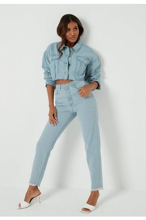 Missguided Women High Waisted - Tall Light Wash Co Ord High Waisted Mom Jeans