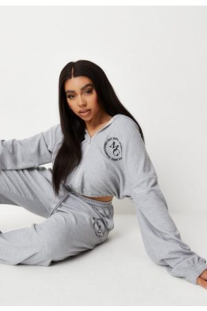 Missguided Plus Size Gray Waffle Cropped Hoodie