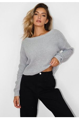 Missguided Gray Off Shoulder Knit Sweater