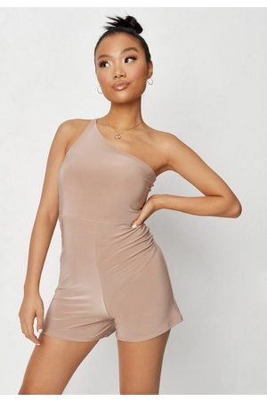 Missguided Women Playsuits - Taupe Slinky Double Strap One Shoulder Romper