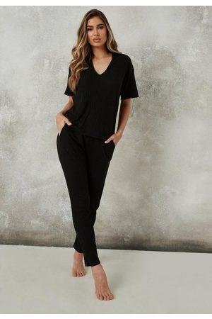 Missguided Women Leggings - Soft Touch Rib Top And Leggings Pyjama Set