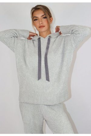 Missguided Gray Chenille Long Hoodie