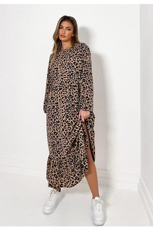 Missguided Women Printed Dresses - Leopard Print Ruffle Hem Midi Smock Dress