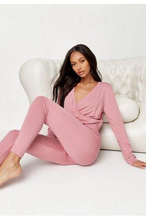 Missguided Women Sweats - Wrap Front Drawstring Loungewear Romper