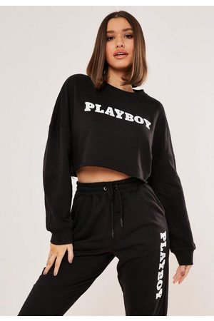 Missguided Playboy X Logo Print Cropped Sweatshirt