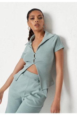 Missguided Sage Co Ord Rib Short Sleeve Polo Top