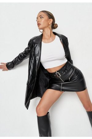 Missguided Women Mini Skirts - Faux Leather Buckle Detail Mini Skirt