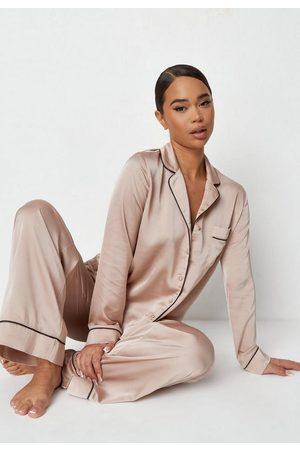 Missguided Women Pajamas - Satin Contrast Piping Wide Leg Pajama Set