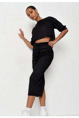 Missguided Women Crop Tops - Rib Crop Top And Midi Skirt Co Ord Set