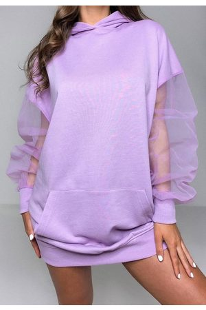 Missguided Mesh Sleeve Hoodie Dress