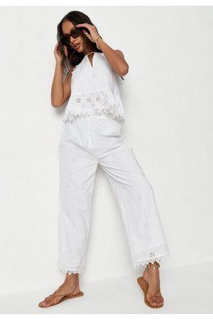 Missguided Women Wide Leg Pants - Broderie Wide Leg Culotte Pants