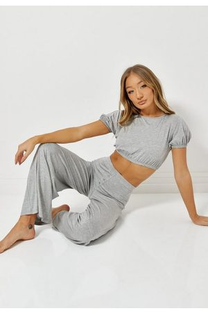 Missguided Gray Crop Wide Leg Pyjama Set