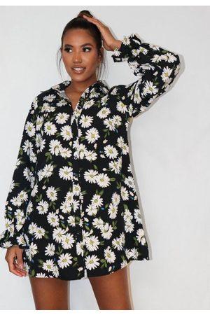 Missguided Floral Print Frill Cuff Shirt Dress