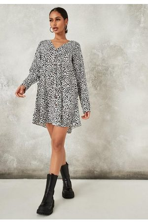 Missguided Tall Dalmatian Button Down Long Sleeve Smock Dress