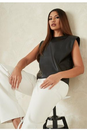 Missguided Faux Leather Shoulder Pad Tank Top