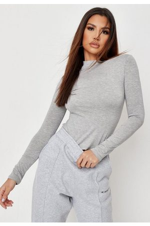 Missguided Gray Funnel Neck Long Sleeve Top