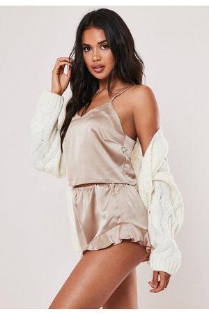 Missguided Satin Cami Frill Short Pyjama Set