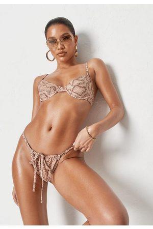 Missguided Sand Muted Snake Print Underwire U Bikini Top