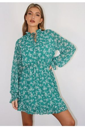 Missguided Floral High Neck Keyhole Mini Dress