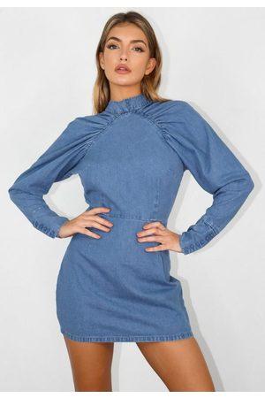 Missguided Petite Denim Victorian Sleeve Mini Dress