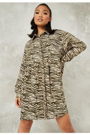 Missguided Zebra Print Oversized Shirt Smock Dress