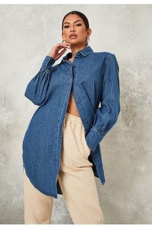 Missguided Women Denim - Dip Hem Long Oversized Denim Shirt
