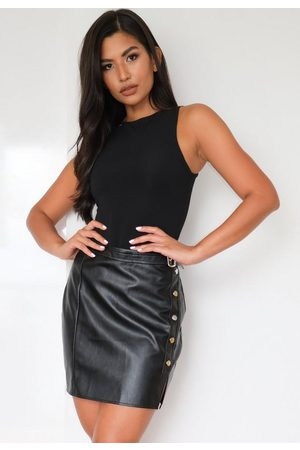Missguided Faux Leather Stud Buckle Mini Skirt