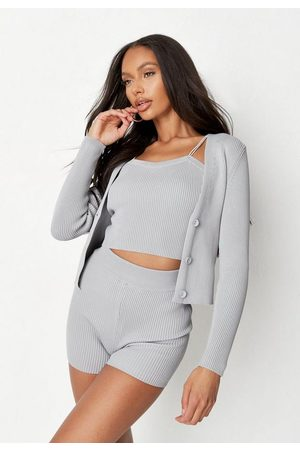Missguided Gray Co Ord Rib Knit Cardigan